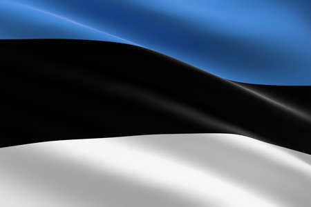 Flag of Estonia. 3d illustration of the estonian flag waving. 스톡 콘텐츠