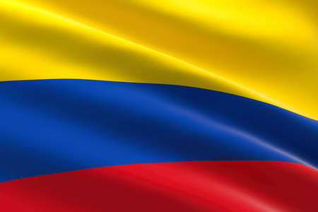Flag of Colombia. 3d illustration of the colombian flag waving.