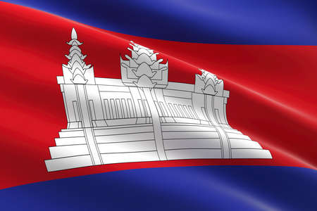 Flag of Cambodia. 3d illustration of the cambodian flag waving. 스톡 콘텐츠