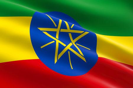 Flag of Ethiopia. 3d illustration of the ethiopian flag waving.