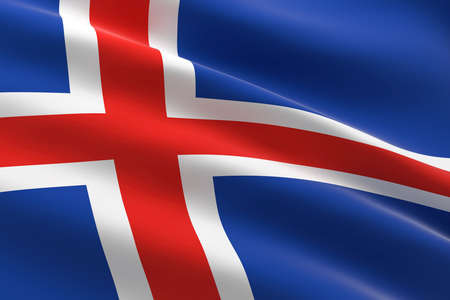 Flag of Iceland. 3d illustration of the Icelandic flag waving.