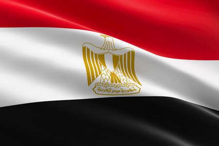 Flag of Egypt. 3d illustration of the egyptian flag waving.