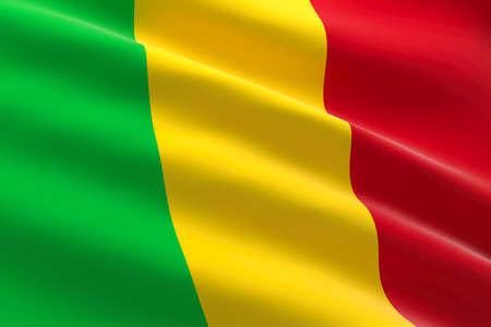 Flag of Mali. 3d illustration of the Malian flag waving.