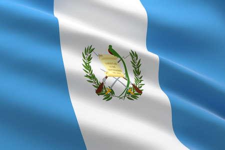 Flag of Guatemala. 3d illustration of the Guatemala flag waving.