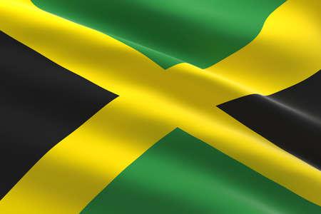 Flag of Jamaica. 3d illustration of the Jamaican flag waving.