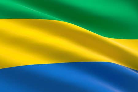 Flag of Gabon. 3d illustration of the gabonese flag waving.
