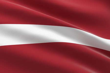 Flag of Latvia. 3d illustration of the Latvian flag waving.