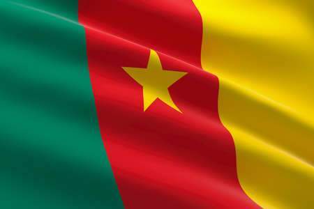 Flag of Cameroon. 3d illustration of the cameroonian flag waving.