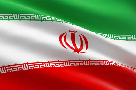 Flag of Iran. 3d illustration of the iranian flag waving. 스톡 콘텐츠