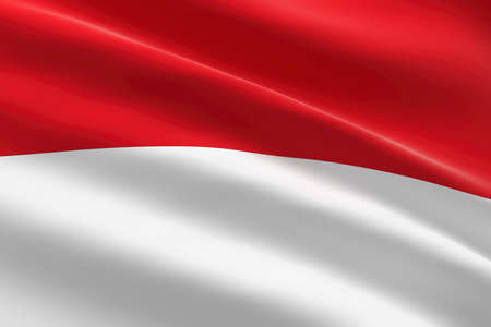 Flag of Indonesia. 3d illustration of the indonesian flag waving. 스톡 콘텐츠