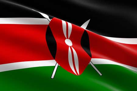 Flag of Kenya. 3d illustration of the Kenyan flag waving.