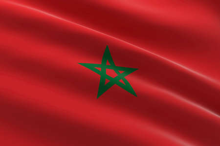Flag of Morocco. 3d illustration of the Moroccan flag waving.