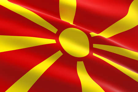 Flag of North Macedonia. 3d illustration of the Macedonian flag waving.