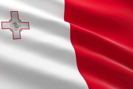Flag of Malta. 3d illustration of the Maltese flag waving.