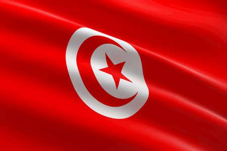Flag of Tunisia. 3d illustration of the Tunisian flag waving. 스톡 콘텐츠