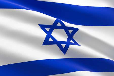 Flag of Israel. 3d illustration of the Israeli flag waving.