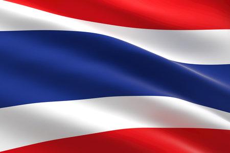Flag of Thailand. 3d illustration of the Thai flag waving. 스톡 콘텐츠