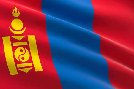 Flag of Mongolia. 3d illustration of the Mongolian flag waving. 스톡 콘텐츠