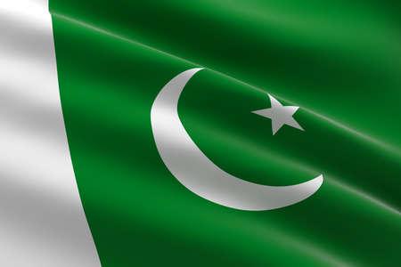 Flag of Pakistan. 3d illustration of the Pakistani flag waving.