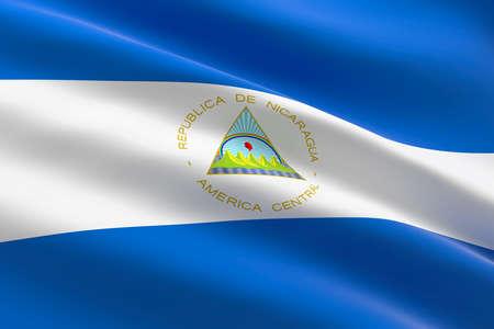Flag of Nicaragua. 3d illustration of the Nicaraguan flag waving.