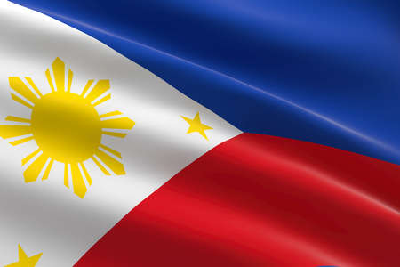 Flag of Philippines. 3d illustration of the Filipino flag waving.
