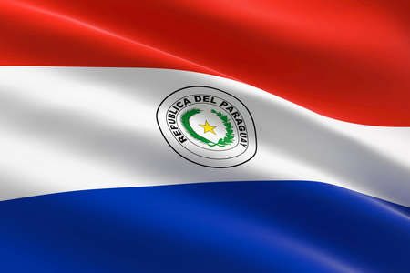 Flag of Paraguay. 3d illustration of the Paraguayan flag waving.