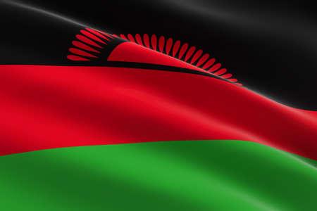 Flag of Malawi. 3d illustration of the Malawian flag waving. 스톡 콘텐츠
