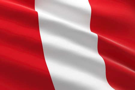 Flag of Peru. 3d illustration of the Peruvian flag waving.