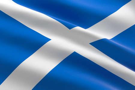 Flag of Scotland. 3d illustration of the Scottish flag waving. 스톡 콘텐츠