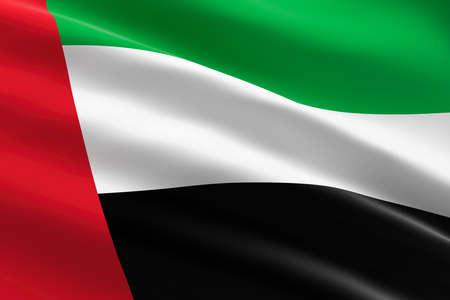 Flag of the United Arab Emirates. 3d illustration of the UAE flag waving.