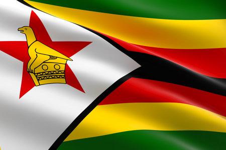 Flag of Zimbabwe. 3d illustration of the Zimbabwean flag waving. 스톡 콘텐츠
