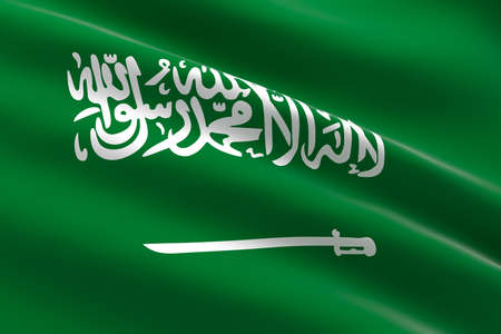 Flag of Saudi Arabia. 3d illustration of the Saudi flag waving. 스톡 콘텐츠