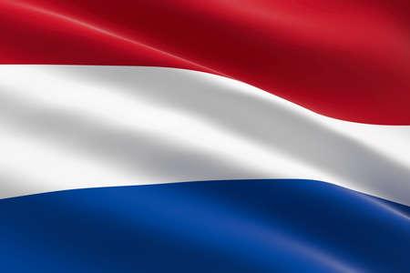 Flag of Netherlands. 3d illustration of the Dutch flag waving.