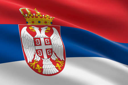 Flag of Serbia. 3d illustration of the Serbian flag waving. 스톡 콘텐츠