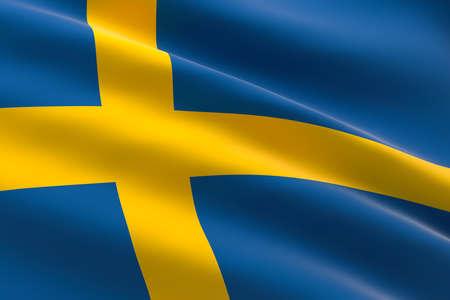 Flag of Sweden. 3d illustration of the Swedish flag waving. 스톡 콘텐츠