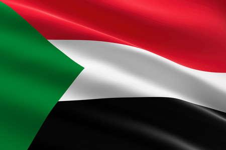 Flag of Sudan. 3d illustration of the Sudanese flag waving. 스톡 콘텐츠