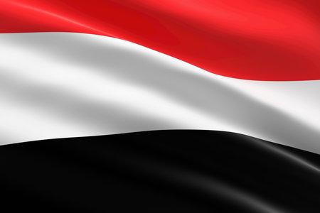 Flag of Yemen. 3d illustration of the Yemeni flag waving.