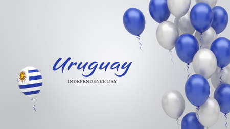 Celebration banner with balloons in Uruguay flag colors.