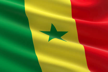 Flag of Senegal. 3d illustration of the Senegalese flag waving. Standard-Bild