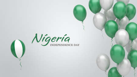 Celebration banner with balloons in Nigeria flag colors.