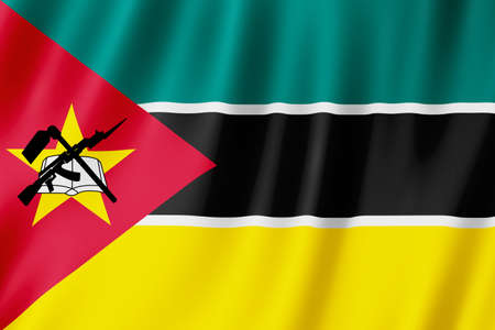 Mozambique flag waving in the wind.