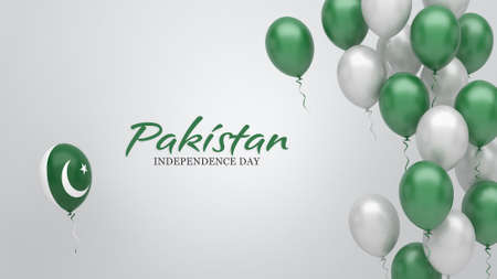 Celebration banner with balloons in Pakistan flag colors.