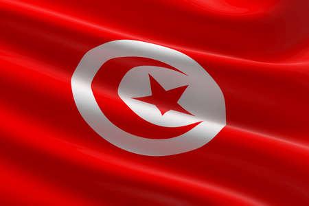 Flag of Tunisia. 3d illustration of the Tunisian flag waving. Standard-Bild