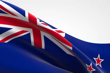 3d render of the New Zealand flag waving.