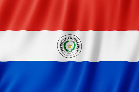 Paraguay flag waving in the wind.