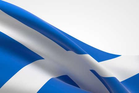 3d render of the Scottish flag waving.