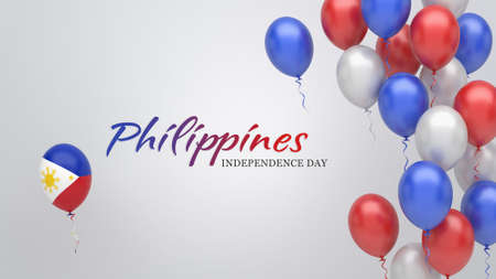 Celebration banner with balloons in Philippines flag colors.