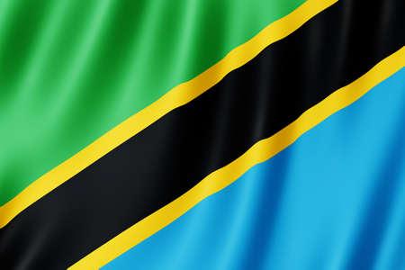 Tanzania flag waving in the wind.