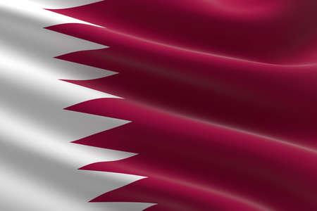 Flag of Qatar. 3d illustration of the Qatari flag waving.