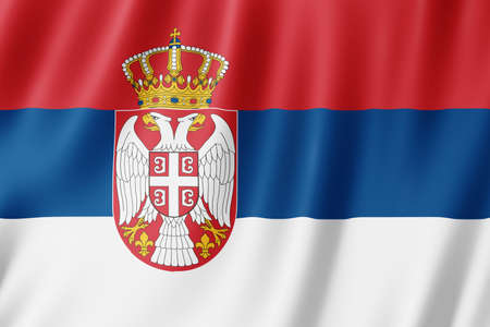 Serbia flag waving in the wind.